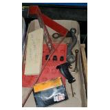 TOOLS: STUD REMOVER SET, ANTIQUE WRENCH, ETC