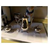 SILVER PLATE COFFEE POT, CREAM & SUGER