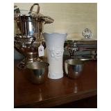 KAISER GERMANY VASE & 2 STIEFF PEWTER CUPS