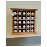 OAK GOLF BALL DISPLAY CASE W/ GOLF BALLS