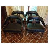 4 BARREL BACK BLACK CHAIRS W/ WOOD TRIM