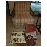 RATTAN CHAIR W/ PILLOWS & THROW