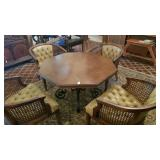 STANLEY OCTAGON GAME TABLE W/ 4 ROLLING CHAIRS