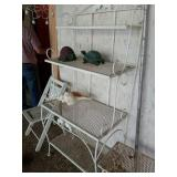 METAL BAKERS RACK, WOOD FOLDING CHAIR, ETC