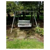 WOODEN SWING W/ METAL FRAME