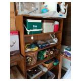 WOODEN SHELF W/ GARDENWARES, COOLERS, ETC