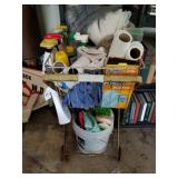 METAL LAUNDRY CART W/ CONTENTS
