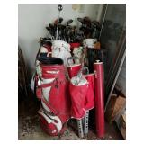 LARGE LOT OF ASSTD GOLF BAGS & CLUBS