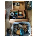 2 BOXES & 1 TOTE OF ASSTD FLOWER POTS, TURTLES