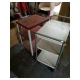 2 METAL SERVING CARTS ON WHEELS