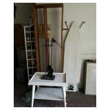 WOODEN SHELF, TABLE, IRONING BOARD, ETC
