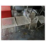 3 CHILDS METAL CHAIRS & 3 SMALL TABLES