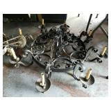 LARGE ROD IRON CHANDELIER