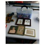 SEWING BASKET W/ SUPPLIES & PICTURE FRAMES