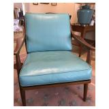 Wood Chair w/ Turquoise Cushions