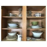 Contents of Cabinet: Dishes, Plates, Stemware