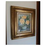 OIL ON CANVAS PICTURE VASE W/ FLOWERS