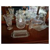 GLASS BASKET, CRACKER JAR, VASE, BUTTER DISH