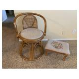Wicker Chair and Embroidered Foot Stool