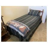Twin Bed with Mattress, Headboard, Blankets