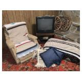 Chair, Blankets, TV Stand, TV, VHS, Ottoman,
