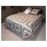 Queen Size Bed, Frame, Mattress, Blankets, Side