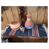Native American Clay Vase, Bowl, Table Runner