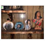 Native American Busts, Vase, Decanter