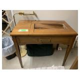 Sewing Cabinet, Lamp and Suitcase