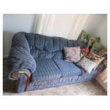 Blue Couch and Loveseat with Decorative Pillows