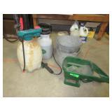 Scotts Seed Spreader, Sprayers, Metal Buckets