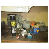 Parts Bin wit Contents, Nails, Sealant and More