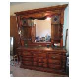 Wood Dresser with Mirror and Shelves