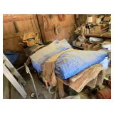 Sawhorse and Contents, Tarps, Blankets, Rifle Case