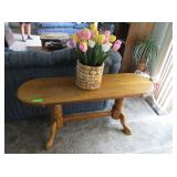 Sofa Table, Wicker Basket with Artificial Tulips