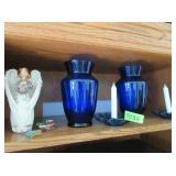 Blue Glass Vases, Angel Figurine, Candle
