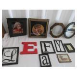 Framed Letter Decorations, Mirror, Artwork
