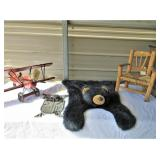 Small Wooden Chair, Toy Bear Skin Rug, Wood Plane