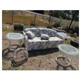 Patio Couch, End Tables, Magazine Holder