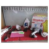 Simplicity Small Sewing Machine, Irons, Blow Dryer