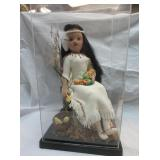 Native American Doll In Display Case
