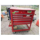 Red Rolling Tool Box with Contents