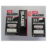 3) Boxes Blazer 357 Mag. 158 GR. Cartridges