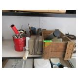 Assorted Hand Tools, Brushes, Pipe Fittings,