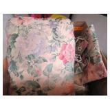 Floral Curtains, Green Bathroom Kit