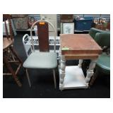 Chair, Kitchen Island with Butcher Block Top