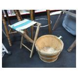 Folding Camp Seat, Bushel Basket
