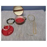 Round Jewel Box With Bracelets, Necklaces And