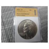 1974-D SGS Certified Eisenhower Dollar