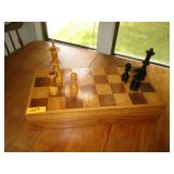 Wood Chess Board And Chess Pieces